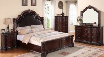 CHERRY BROWN FINISH BEDROOM SET
